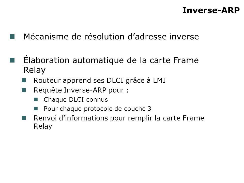 Inverse-ARP Mécanisme de résolution dadresse inverse Élaboration automatique de la carte Frame Relay Routeur apprend ses DLCI grâce à LMI Requête Inverse-ARP pour : Chaque DLCI connus Pour chaque protocole de couche 3 Renvoi dinformations pour remplir la carte Frame Relay