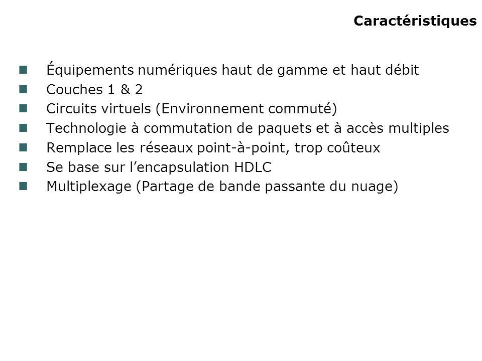 Caractéristiques Équipements numériques haut de gamme et haut débit Couches 1 & 2 Circuits virtuels (Environnement commuté) Technologie à commutation