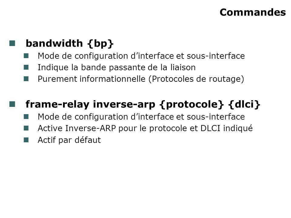Commandes bandwidth {bp} Mode de configuration dinterface et sous-interface Indique la bande passante de la liaison Purement informationnelle (Protocoles de routage) frame-relay inverse-arp {protocole} {dlci} Mode de configuration dinterface et sous-interface Active Inverse-ARP pour le protocole et DLCI indiqué Actif par défaut