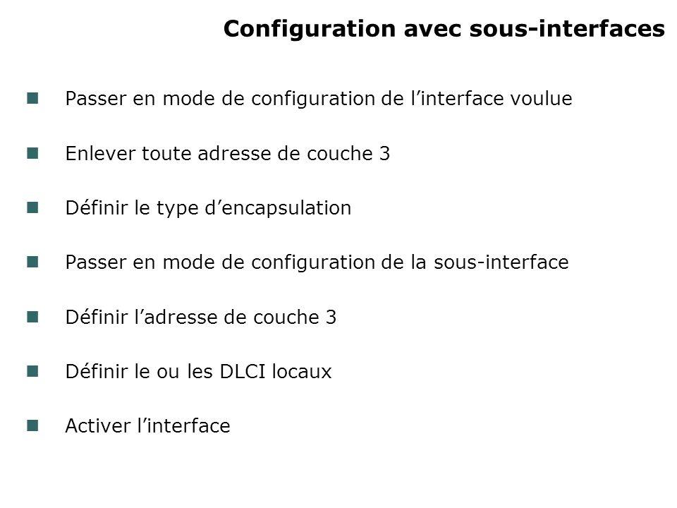 Configuration avec sous-interfaces Passer en mode de configuration de linterface voulue Enlever toute adresse de couche 3 Définir le type dencapsulation Passer en mode de configuration de la sous-interface Définir ladresse de couche 3 Définir le ou les DLCI locaux Activer linterface