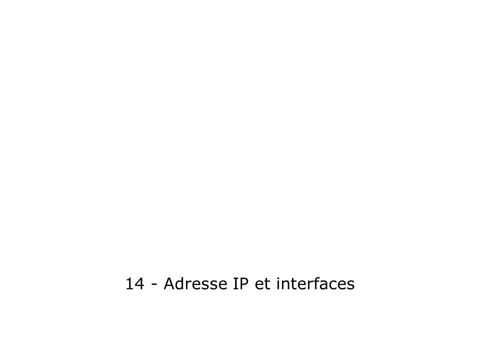 14 - Adresse IP et interfaces