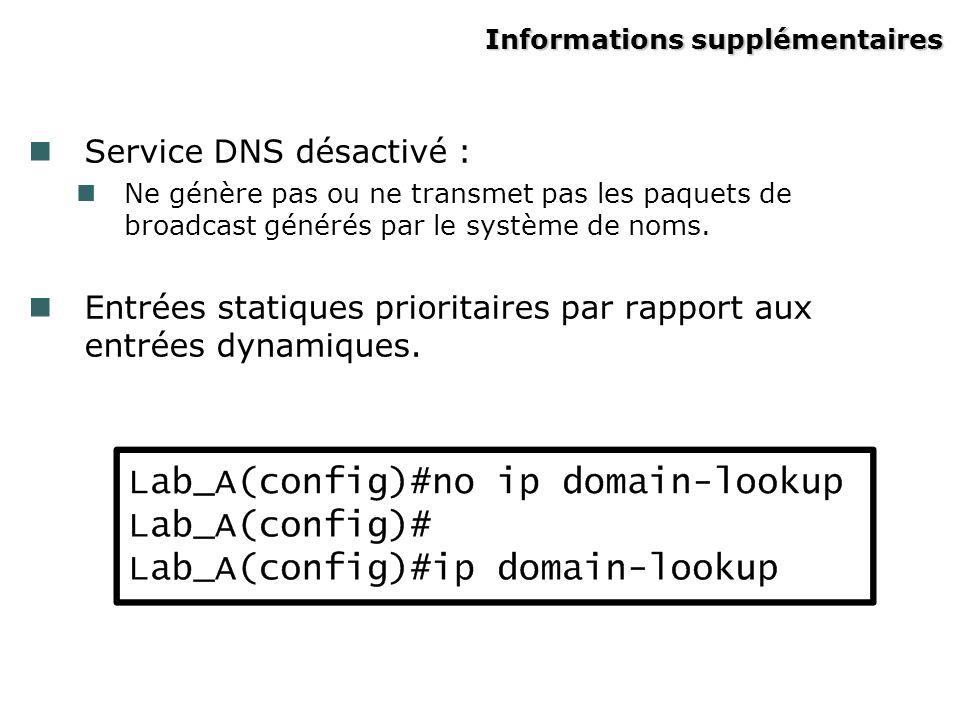 Informations supplémentaires Service DNS désactivé : Ne génère pas ou ne transmet pas les paquets de broadcast générés par le système de noms.
