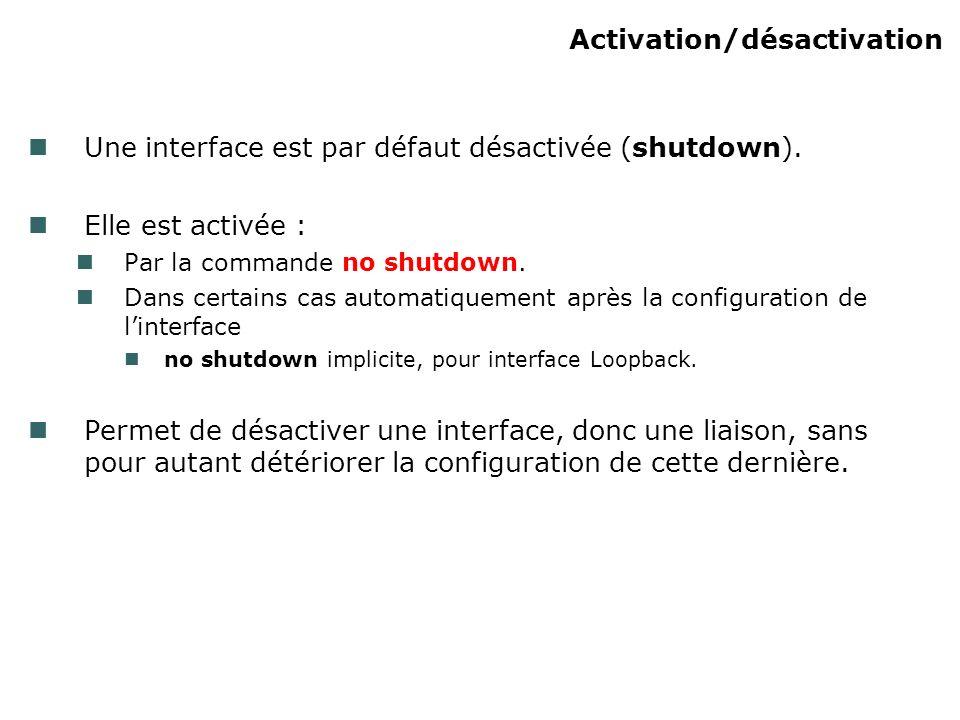 Activation/désactivation Une interface est par défaut désactivée (shutdown).