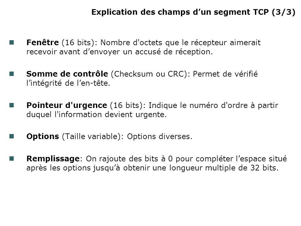 Explication des champs dun segment TCP (3/3) Fenêtre (16 bits): Nombre d octets que le récepteur aimerait recevoir avant denvoyer un accusé de réception.