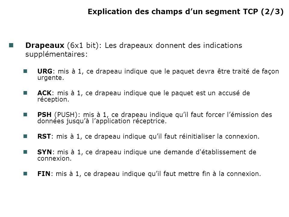 Explication des champs dun segment TCP (2/3) Drapeaux (6x1 bit): Les drapeaux donnent des indications supplémentaires: URG: mis à 1, ce drapeau indique que le paquet devra être traité de façon urgente.