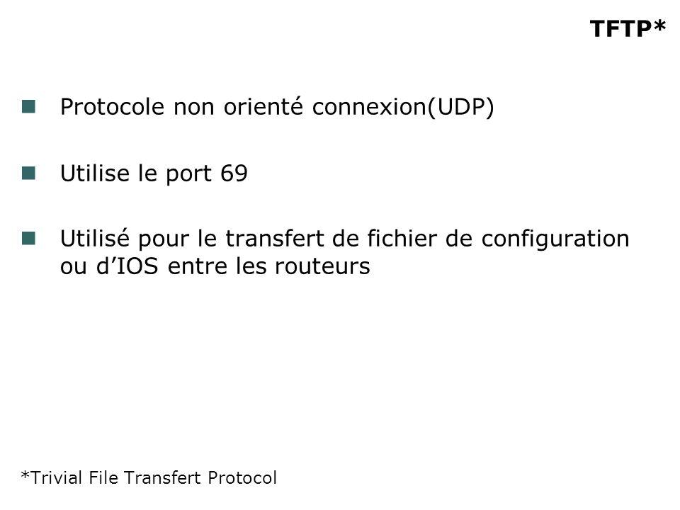 TFTP* Protocole non orienté connexion(UDP) Utilise le port 69 Utilisé pour le transfert de fichier de configuration ou dIOS entre les routeurs *Trivial File Transfert Protocol
