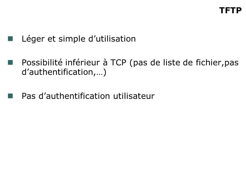TFTP Léger et simple dutilisation Possibilité inférieur à TCP (pas de liste de fichier,pas dauthentification,…) Pas dauthentification utilisateur