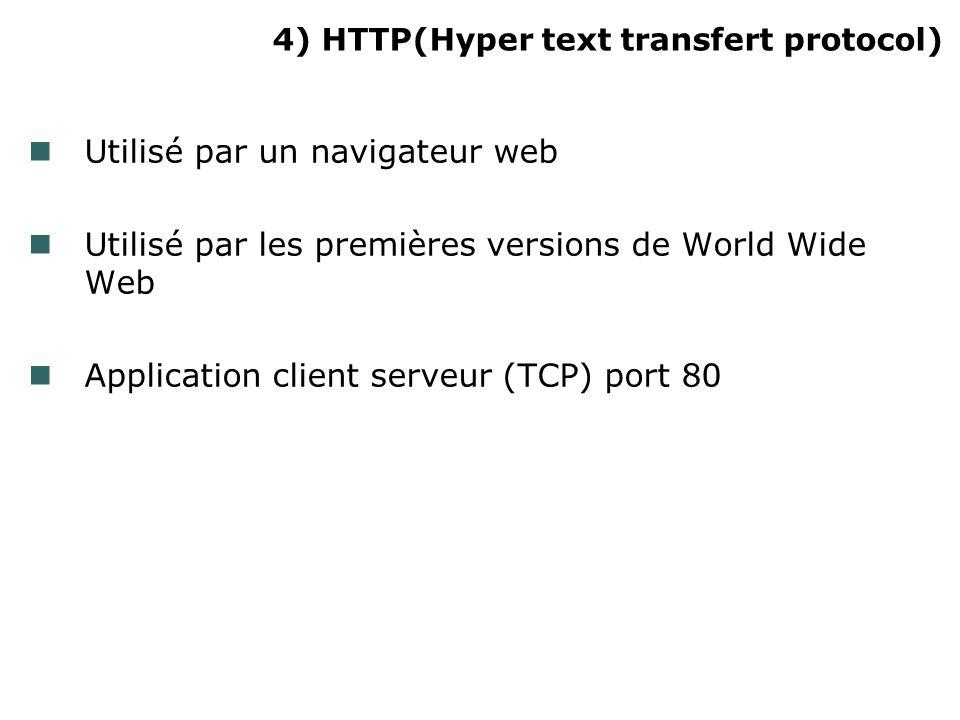 4) HTTP(Hyper text transfert protocol) Utilisé par un navigateur web Utilisé par les premières versions de World Wide Web Application client serveur (TCP) port 80