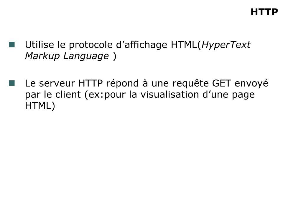 HTTP Utilise le protocole daffichage HTML(HyperText Markup Language ) Le serveur HTTP répond à une requête GET envoyé par le client (ex:pour la visualisation dune page HTML)