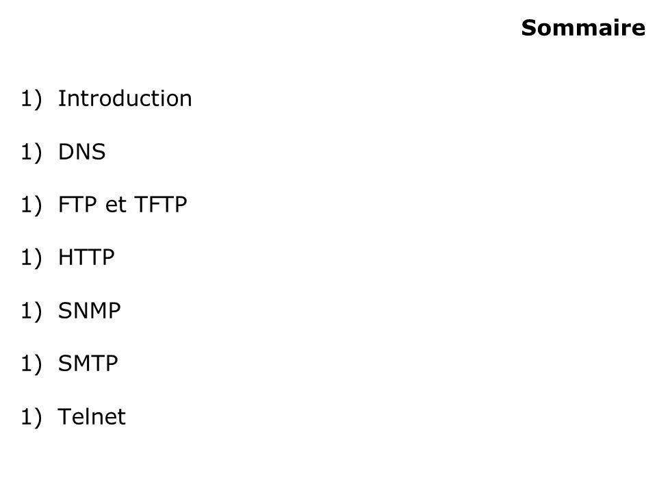 Sommaire 1)Introduction 1)DNS 1)FTP et TFTP 1)HTTP 1)SNMP 1)SMTP 1)Telnet
