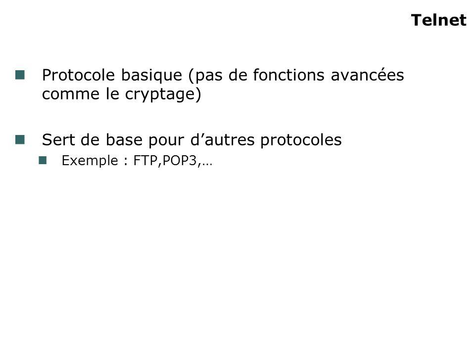 Telnet Protocole basique (pas de fonctions avancées comme le cryptage) Sert de base pour dautres protocoles Exemple : FTP,POP3,…