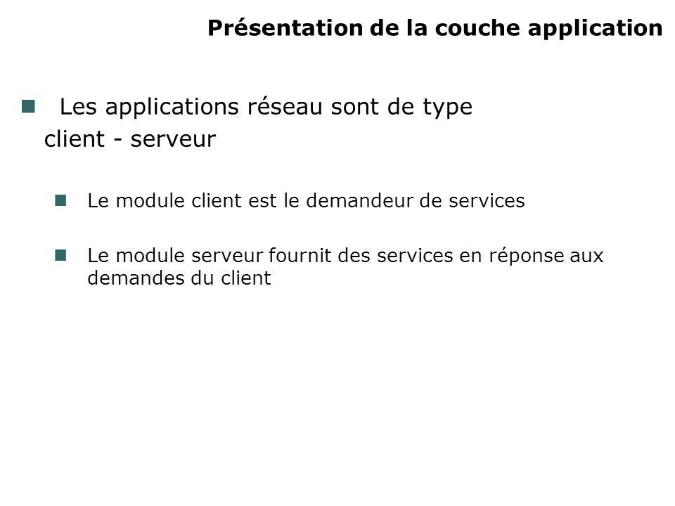 Présentation de la couche application Les applications réseau sont de type client - serveur Le module client est le demandeur de services Le module serveur fournit des services en réponse aux demandes du client