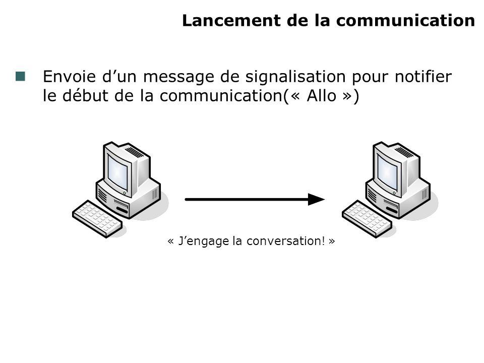 Lancement de la communication Envoie dun message de signalisation pour notifier le début de la communication(« Allo ») « Jengage la conversation! »
