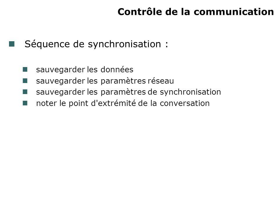 Contrôle de la communication Séquence de synchronisation : sauvegarder les données sauvegarder les paramètres réseau sauvegarder les paramètres de syn