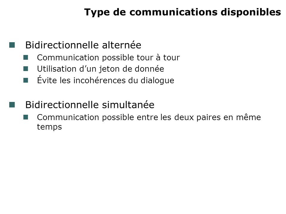 Type de communications disponibles Bidirectionnelle alternée Communication possible tour à tour Utilisation dun jeton de donnée Évite les incohérences