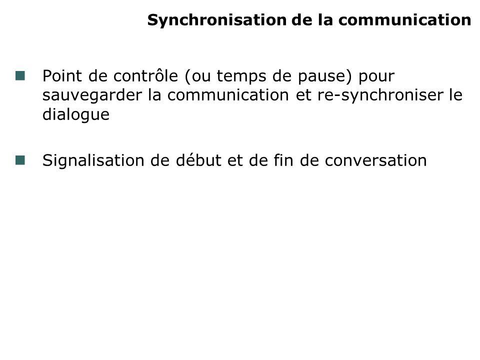 Synchronisation de la communication Point de contrôle (ou temps de pause) pour sauvegarder la communication et re-synchroniser le dialogue Signalisati