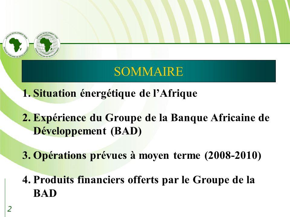 2 SOMMAIRE 1.Situation énergétique de lAfrique 2.Expérience du Groupe de la Banque Africaine de Développement (BAD) 3.Opérations prévues à moyen terme (2008-2010) 4.Produits financiers offerts par le Groupe de la BAD