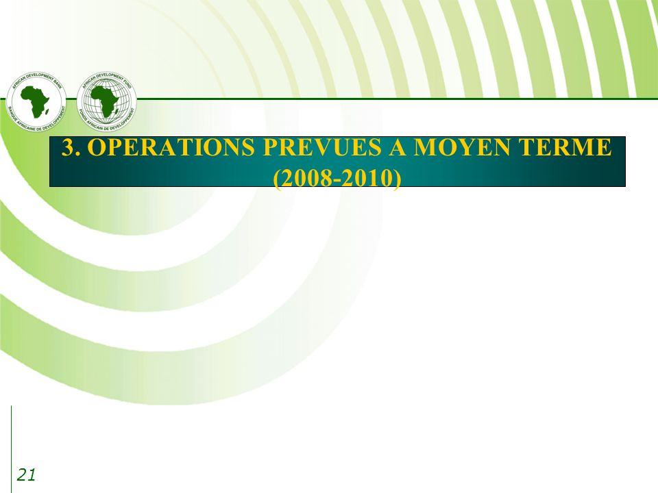 21 3. OPERATIONS PREVUES A MOYEN TERME (2008-2010)