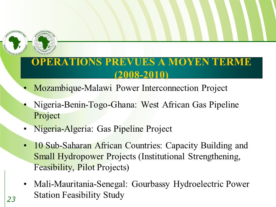 23 OPERATIONS PREVUES A MOYEN TERME (2008-2010) Mozambique-Malawi Power Interconnection Project Nigeria-Benin-Togo-Ghana: West African Gas Pipeline Pr