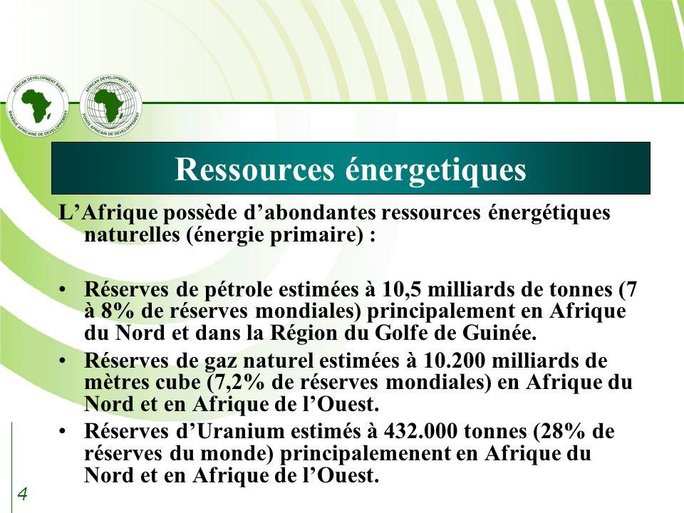4 Ressources énergetiques LAfrique possède dabondantes ressources énergétiques naturelles (énergie primaire) : Réserves de pétrole estimées à 10,5 milliards de tonnes (7 à 8% de réserves mondiales) principalement en Afrique du Nord et dans la Région du Golfe de Guinée.