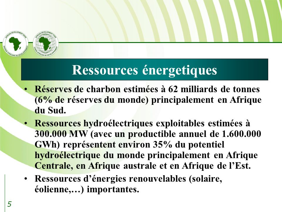 5 Ressources énergetiques Réserves de charbon estimées à 62 milliards de tonnes (6% de réserves du monde) principalement en Afrique du Sud.