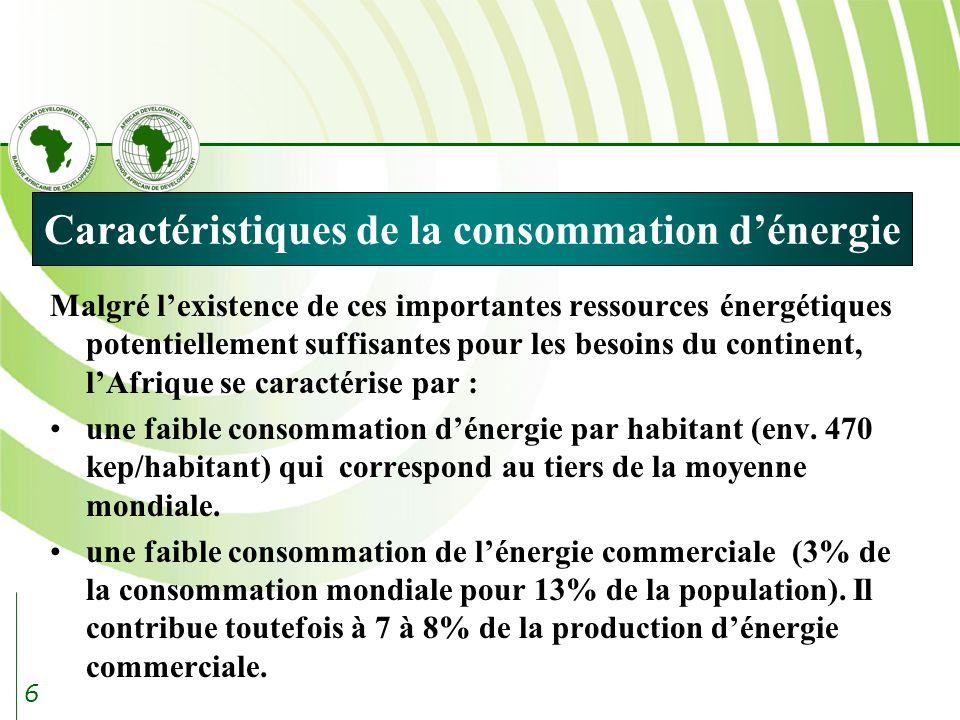 6 Caractéristiques de la consommation dénergie Malgré lexistence de ces importantes ressources énergétiques potentiellement suffisantes pour les besoins du continent, lAfrique se caractérise par : une faible consommation dénergie par habitant (env.