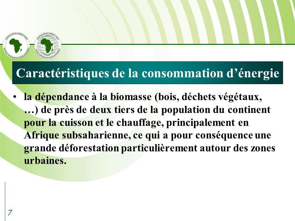 7 Caractéristiques de la consommation dénergie la dépendance à la biomasse (bois, déchets végétaux, …) de près de deux tiers de la population du continent pour la cuisson et le chauffage, principalement en Afrique subsaharienne, ce qui a pour conséquence une grande déforestation particulièrement autour des zones urbaines.