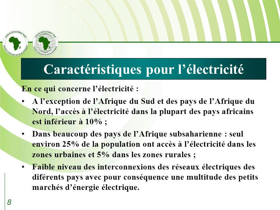 8 Caractéristiques pour lélectricité En ce qui concerne lélectricité : A lexception de lAfrique du Sud et des pays de lAfrique du Nord, laccès à lélectricité dans la plupart des pays africains est inférieur à 10% ; Dans beaucoup des pays de lAfrique subsaharienne : seul environ 25% de la population ont accès à lélectricité dans les zones urbaines et 5% dans les zones rurales ; Faible niveau des interconnexions des réseaux électriques des diférents pays avec pour conséquence une multitude des petits marchés dénergie électrique.