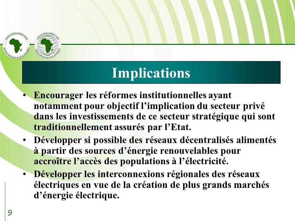 9 Implications Encourager les réformes institutionnelles ayant notamment pour objectif limplication du secteur privé dans les investissements de ce secteur stratégique qui sont traditionnellement assurés par lEtat.