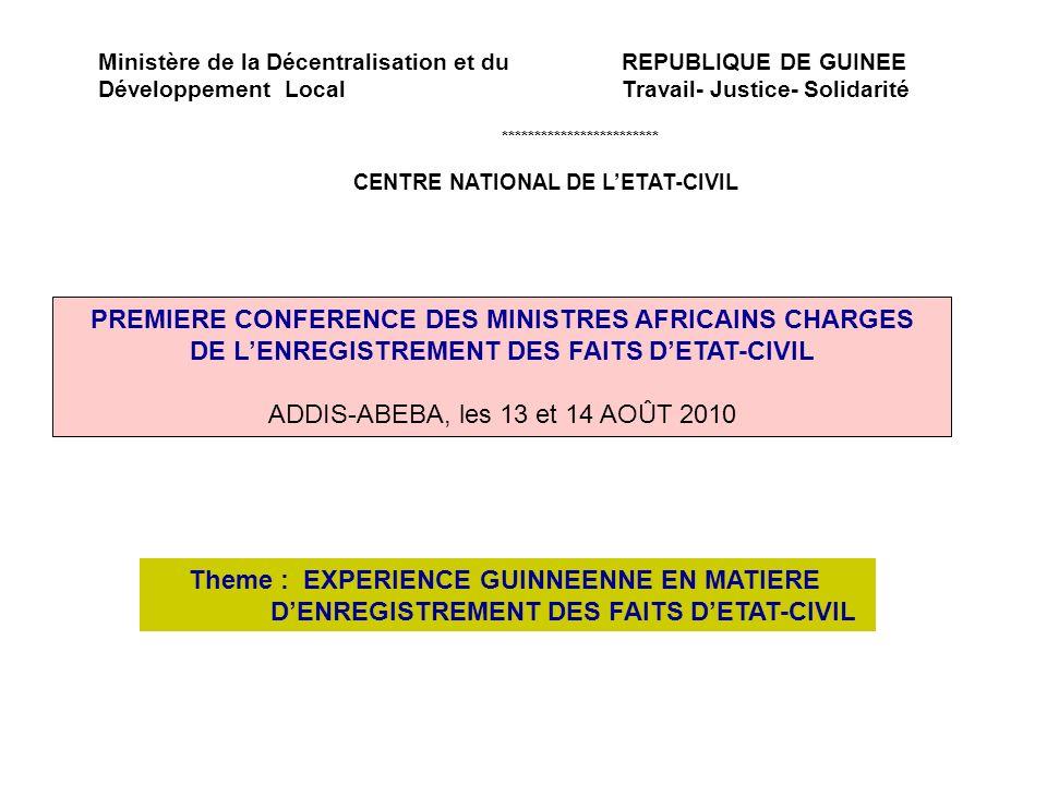 Ministère de la Décentralisation et du REPUBLIQUE DE GUINEE Développement Local Travail- Justice- Solidarité ************************ CENTRE NATIONAL