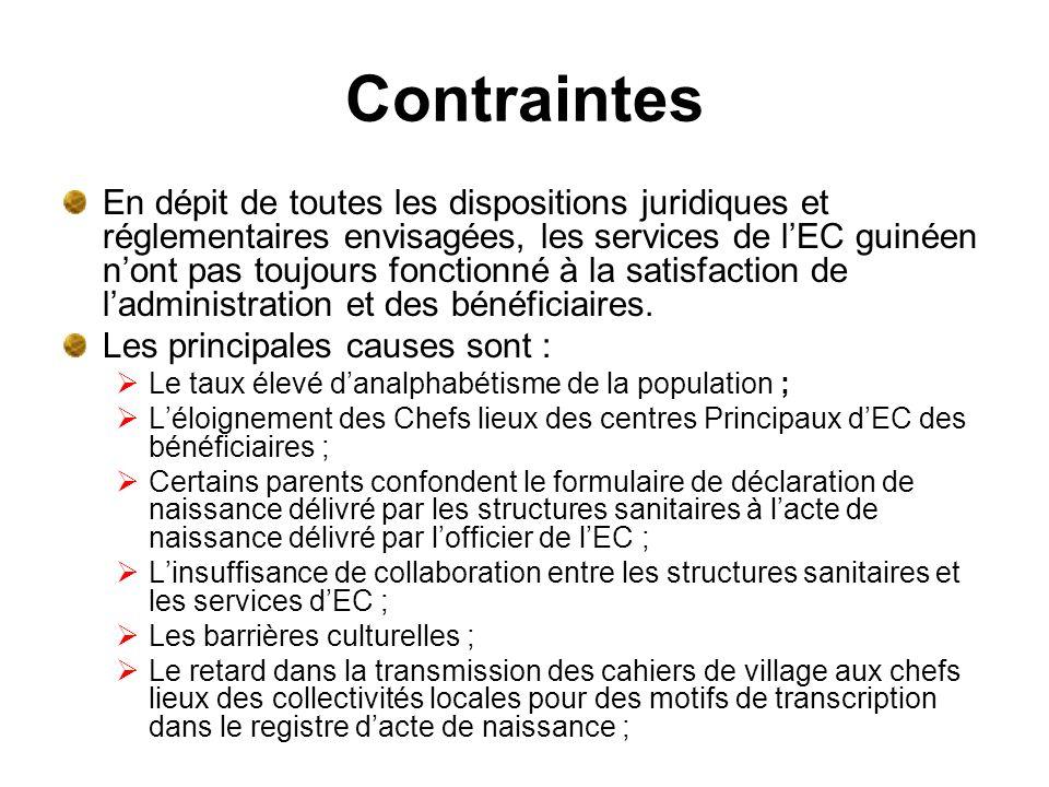 Contraintes En dépit de toutes les dispositions juridiques et réglementaires envisagées, les services de lEC guinéen nont pas toujours fonctionné à la