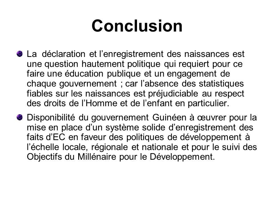 Conclusion La déclaration et lenregistrement des naissances est une question hautement politique qui requiert pour ce faire une éducation publique et