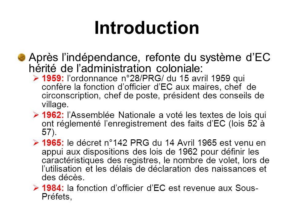 Introduction Après lindépendance, refonte du système dEC hérité de ladministration coloniale: 1959: lordonnance n°28/PRG/ du 15 avril 1959 qui confère