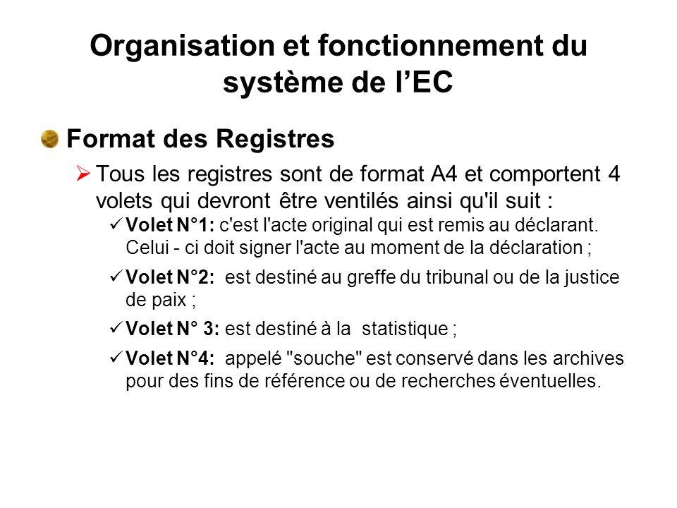 Organisation et fonctionnement du système de lEC Format des Registres Tous les registres sont de format A4 et comportent 4 volets qui devront être ven