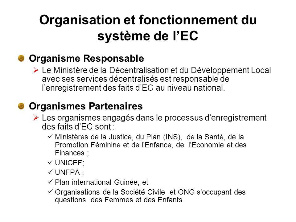 Organisation et fonctionnement du système de lEC Organisme Responsable Le Ministère de la Décentralisation et du Développement Local avec ses services