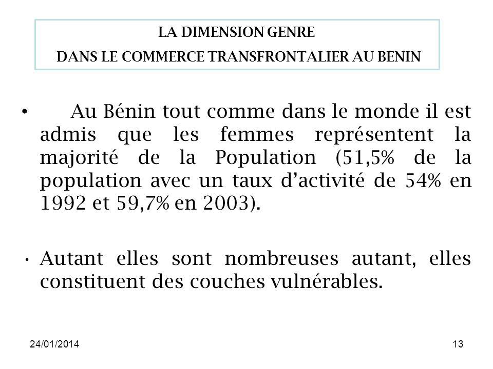 24/01/201413 Au Bénin tout comme dans le monde il est admis que les femmes représentent la majorité de la Population (51,5% de la population avec un taux dactivité de 54% en 1992 et 59,7% en 2003).