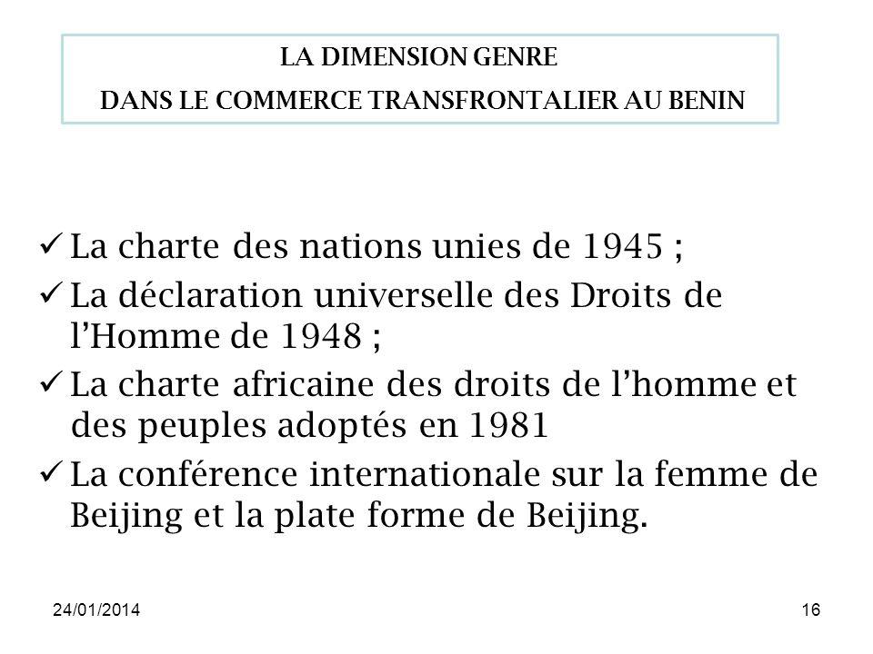 24/01/201416 La charte des nations unies de 1945 ; La déclaration universelle des Droits de lHomme de 1948 ; La charte africaine des droits de lhomme et des peuples adoptés en 1981 La conférence internationale sur la femme de Beijing et la plate forme de Beijing.