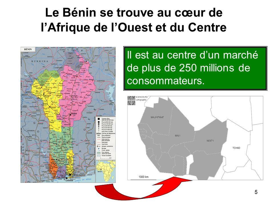 5 Le Bénin se trouve au cœur de lAfrique de lOuest et du Centre Il est au centre dun marché de plus de 250 millions de consommateurs.