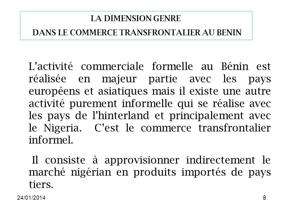 24/01/20148 Lactivité commerciale formelle au Bénin est réalisée en majeur partie avec les pays européens et asiatiques mais il existe une autre activité purement informelle qui se réalise avec les pays de lhinterland et principalement avec le Nigeria.