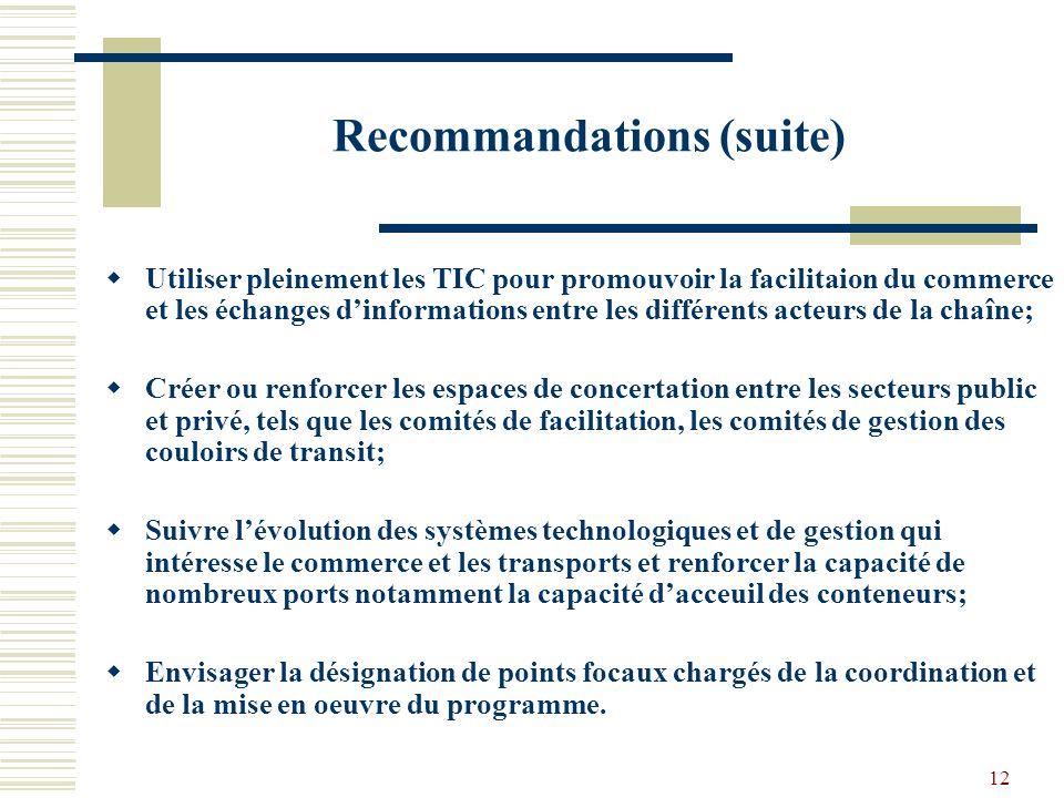 12 Recommandations (suite) Utiliser pleinement les TIC pour promouvoir la facilitaion du commerce et les échanges dinformations entre les différents acteurs de la chaîne; Créer ou renforcer les espaces de concertation entre les secteurs public et privé, tels que les comités de facilitation, les comités de gestion des couloirs de transit; Suivre lévolution des systèmes technologiques et de gestion qui intéresse le commerce et les transports et renforcer la capacité de nombreux ports notamment la capacité dacceuil des conteneurs; Envisager la désignation de points focaux chargés de la coordination et de la mise en oeuvre du programme.