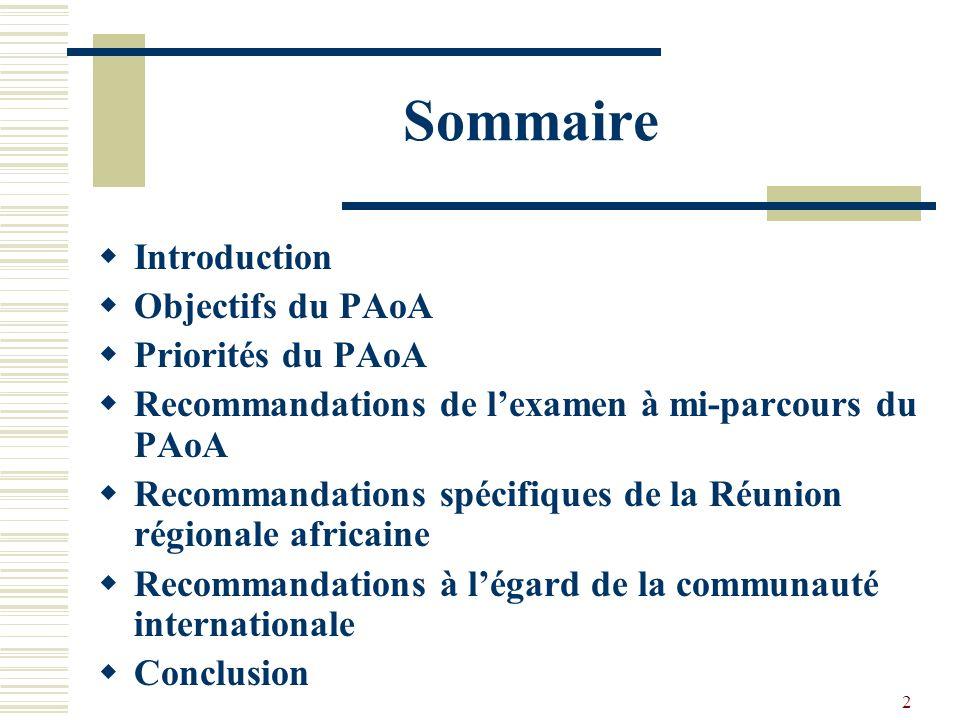 2 Sommaire Introduction Objectifs du PAoA Priorités du PAoA Recommandations de lexamen à mi-parcours du PAoA Recommandations spécifiques de la Réunion régionale africaine Recommandations à légard de la communauté internationale Conclusion