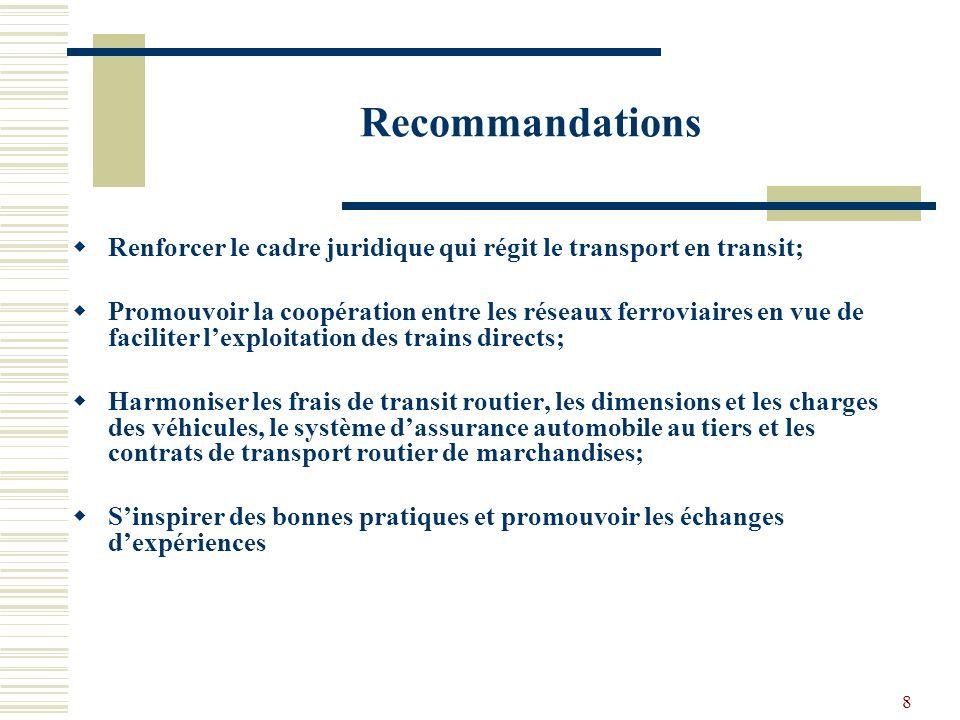 8 Recommandations Renforcer le cadre juridique qui régit le transport en transit; Promouvoir la coopération entre les réseaux ferroviaires en vue de faciliter lexploitation des trains directs; Harmoniser les frais de transit routier, les dimensions et les charges des véhicules, le système dassurance automobile au tiers et les contrats de transport routier de marchandises; Sinspirer des bonnes pratiques et promouvoir les échanges dexpériences
