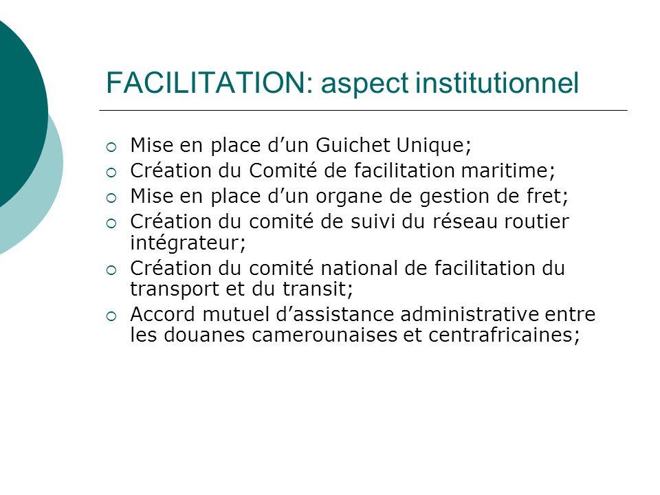 FACILITATION: aspect institutionnel Mise en place dun Guichet Unique; Création du Comité de facilitation maritime; Mise en place dun organe de gestion