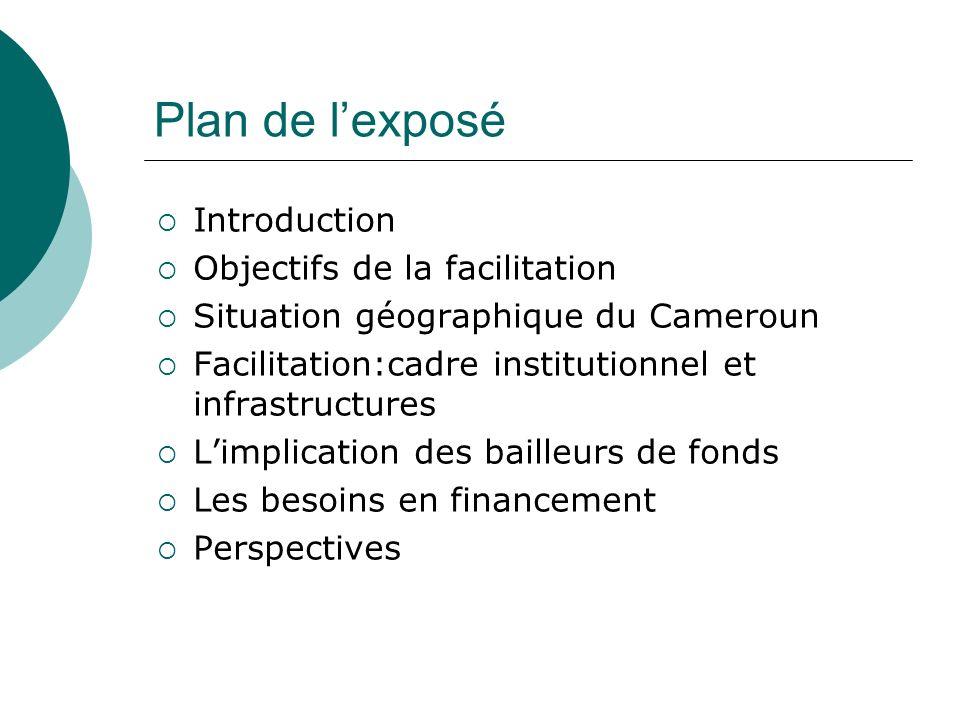 Plan de lexposé Introduction Objectifs de la facilitation Situation géographique du Cameroun Facilitation:cadre institutionnel et infrastructures Limp