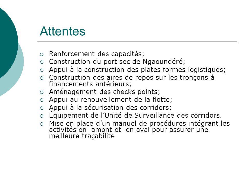 Attentes Renforcement des capacités; Construction du port sec de Ngaoundéré; Appui à la construction des plates formes logistiques; Construction des a
