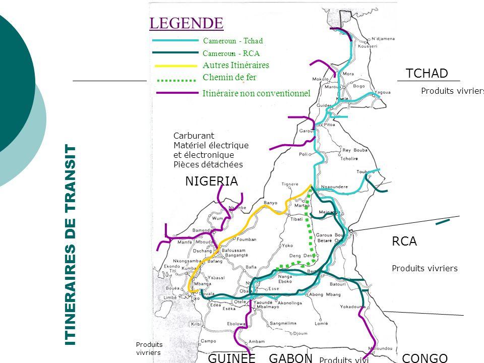 ITINERAIRES DE TRANSIT LEGENDE Cameroun - Tchad Cameroun - RCA Autres Itinéraires Chemin de fer Itinéraire non conventionnel GABONCONGO GUINEE EQUQTOR
