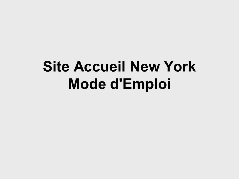 Site Accueil New York Mode d'Emploi