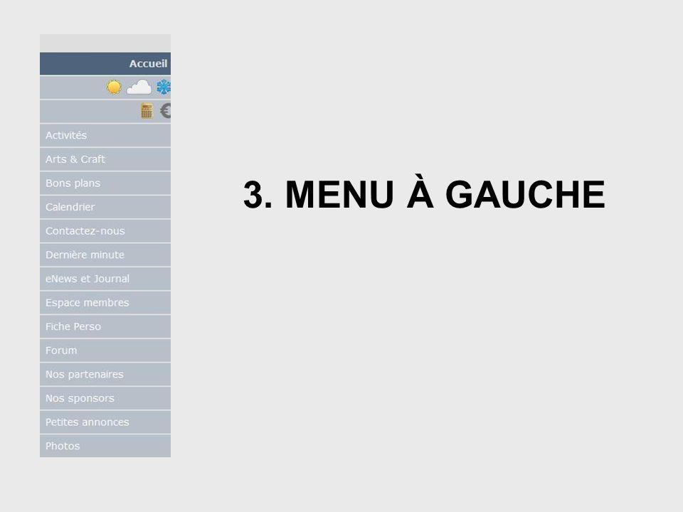 3. MENU À GAUCHE 2.