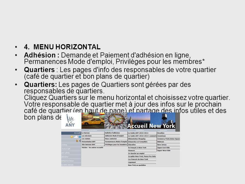 4. MENU HORIZONTAL Adhésion : Demande et Paiement d'adhésion en ligne, Permanences Mode d'emploi, Privilèges pour les membres* Quartiers : Les pages d