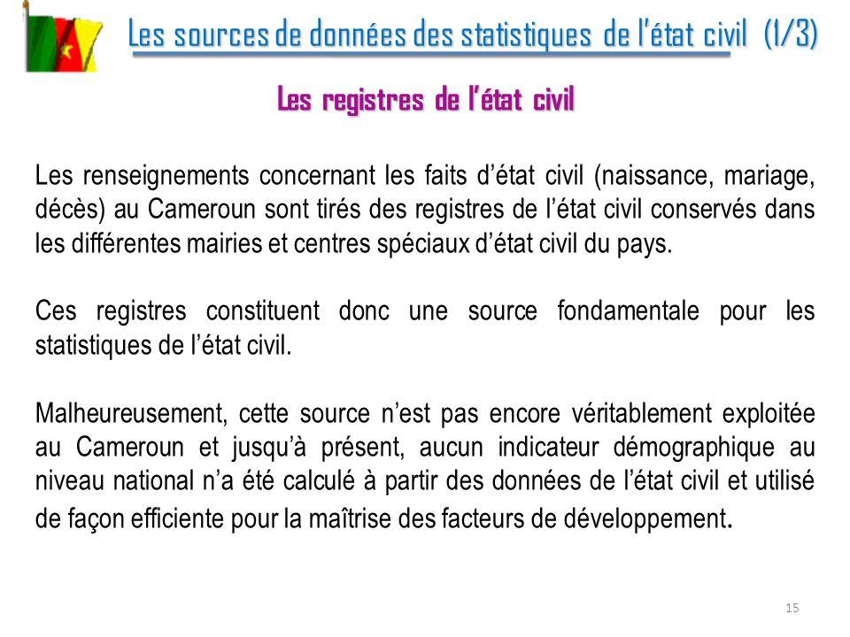 Les sources de données des statistiques de létat civil (1/3) Les sources de données des statistiques de létat civil (1/3) Les registres de létat civil